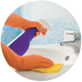 image of hands spraying and cleaning bathroom sink