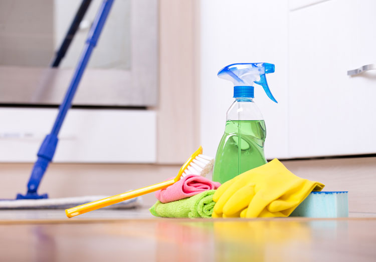 image of woman holding cleaning supplies