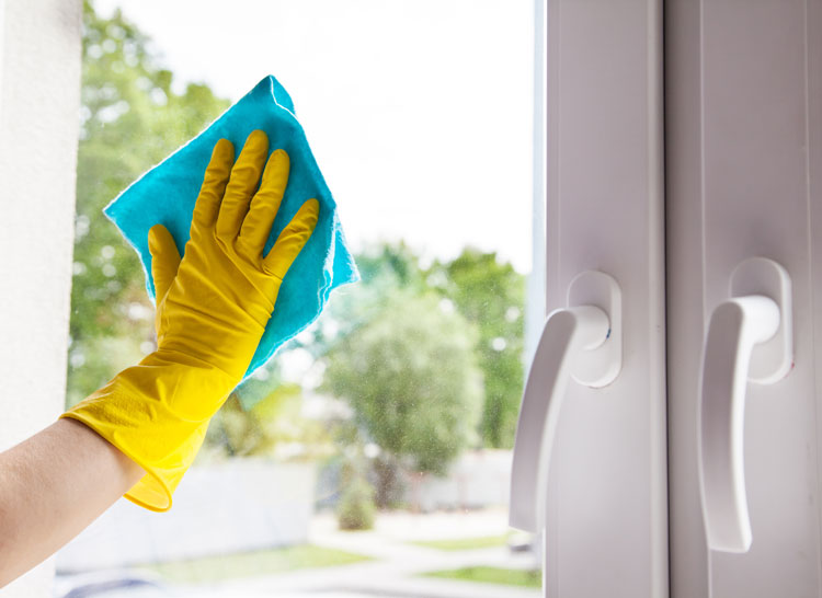 image of hand washing a window
